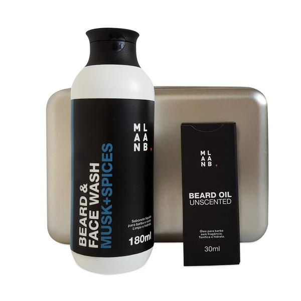 Óleo para Barba Unscented  + Shampoo para Barba MUSK SPICES. Box metálico GRÁTIS.
