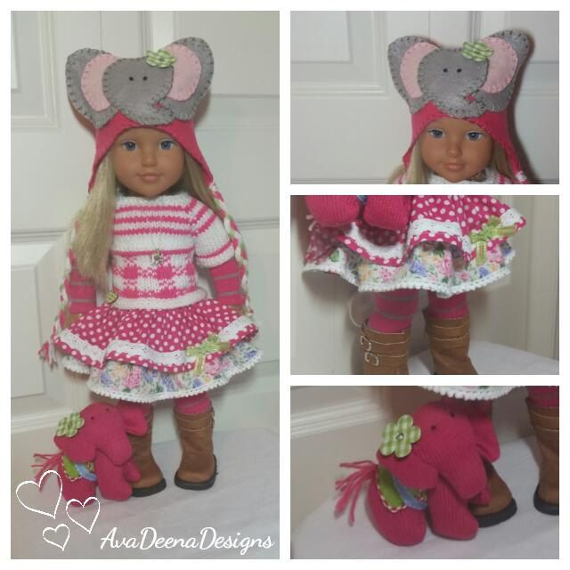 Complete Elephant outfit clothes for 18 inch doll american girl doll handmade by AvaDeenaDesigns on Etsy