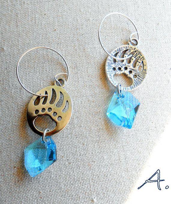 Earrings crystal ice and polar bear silver by EarringsandJoy