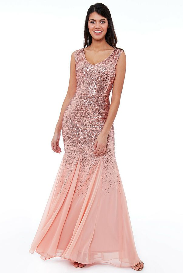 Goddiva Mint Sequin Chiffon Long Maxi Evening Dress Bridesmaid Prom Party