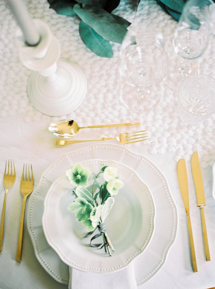 Chic Boutonnieres | Lily & Sage | Luxury Wedding Planning & Styling | Photography - Katie Julia | Flowers - Westwood Design | Cutlery - Vintage Gold China.