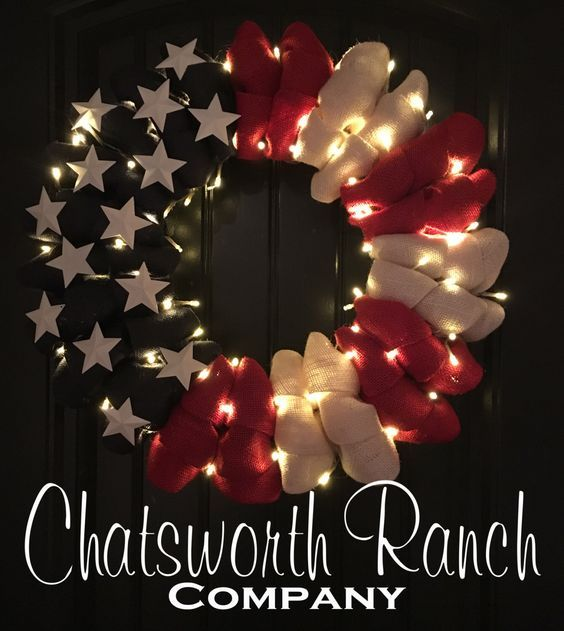 Patriotic Burlap Welcome Door Wreath American Flag Red White Blue Rustic Army Navy Air Force Marines Military 4th of July Independence Day by ChatsworthRanchCo on Etsy https://www.etsy.com/listing/400009905/patriotic-burlap-welcome-door-wreath