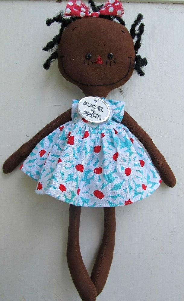 cloth rag doll African American handmade Olivia by SugarAndSpice