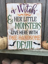 "Celebrate Halloween with this rustic pallet wood sign.This 9x 12"" pine is hand painted white and distressed then the design is hand painted on. 
