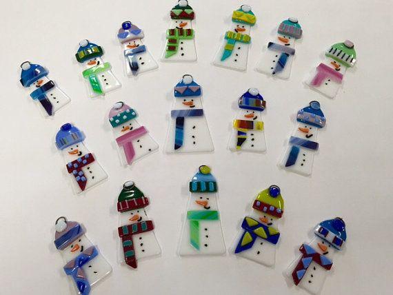Fused Glass Ornament  Snowman by Artglassbystraub on Etsy
