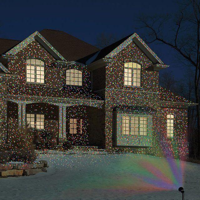 Проектор имитирующий рождественские огоньки. Отличная идея для украшения загородного дома, дачи, частного сектора - http://ali.pub/1ofxi