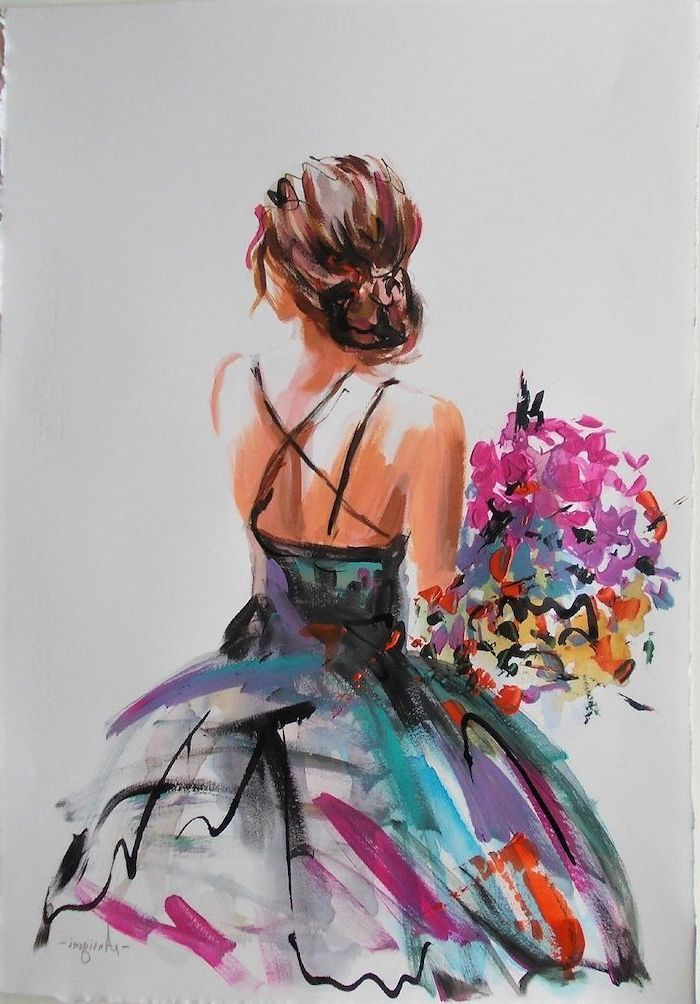 1001 Acrylic Painting Ideas To Fill Your Spare Time With Painting Of Girl Dress Painting Canvas Art Painting