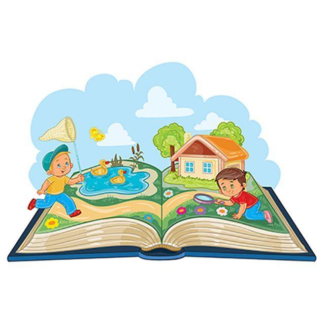 Young Children Studying Nature As An Open Book Gambar
