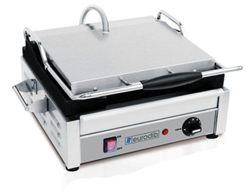 """Eurodib Single Panini Grill, Ribbed Top and Bottom by Eurodib. $419.71. Non-Slip Feet. UL and NSF approved. 120 Volts, 15 Amp, 1800 Watt. Removable Grease Tray. 10"""" x 15"""" Cooking Surface. This single commercial panini grill features cast-iron ribbed top and bottom plates, a stainless body, and easily adjustable press tension. The adjustable thermostat allows for cooking temperatures up to 580° F (300° C)."""