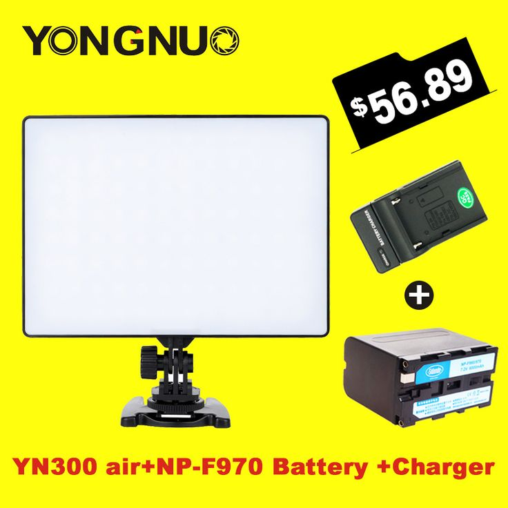 YONGNUO YN-300 air yn 300 AIR Pro LED Camera Video Light For Canon Nikon with NP-F970 Battery  Charger