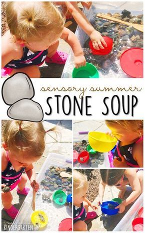 10 Ways to Play With Rocks {Sensory Summer} - Stone Soup! This is the perfect outdoor activity for summer tot school, preschool, or kindergarten!