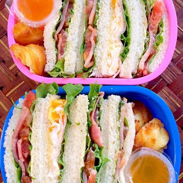 月1検診で朝病院へ行ってから幼稚園へ作るのも食べるのも早いサンドウィッチで今日はお願いしますw 寒いのが本当に辛いぃぃ  ☆サンドウィッチ(卵・ハム・レタス&ベーコン・レタス・トマト)☆ポムデュセスポテト☆ゼリー☆ - 74件のもぐもぐ - Lunch box☆SandwichHLE&BLTサンドウィッチ by Ami