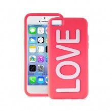 Forro iPhone 5C Puro - LOVE Silicona Rosa fluorescente  Bs.F. 178,63
