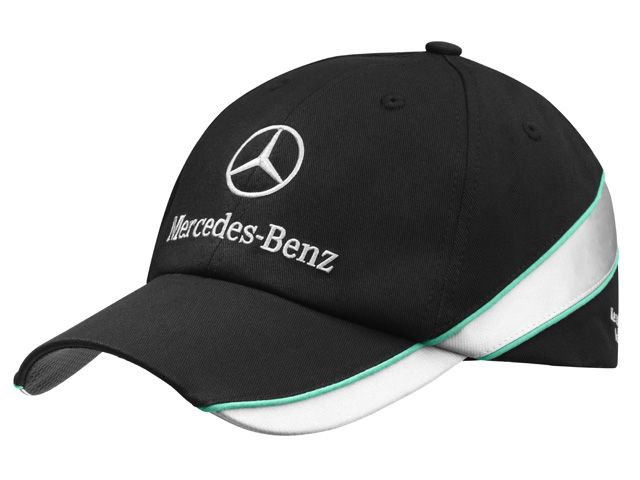 "Cap, Men, Highlight B67995144 Baseball cap. Black. 100% cotton. Green and silver-coloured details.  Carbon-look sandwich peak detail and fastening tab. Metal clasp,  embossed with logo, for adjusting fit. ""Mercedes‑Benz Motorsport"" embroidered on back in silver colour.  Logo embroidered on front."