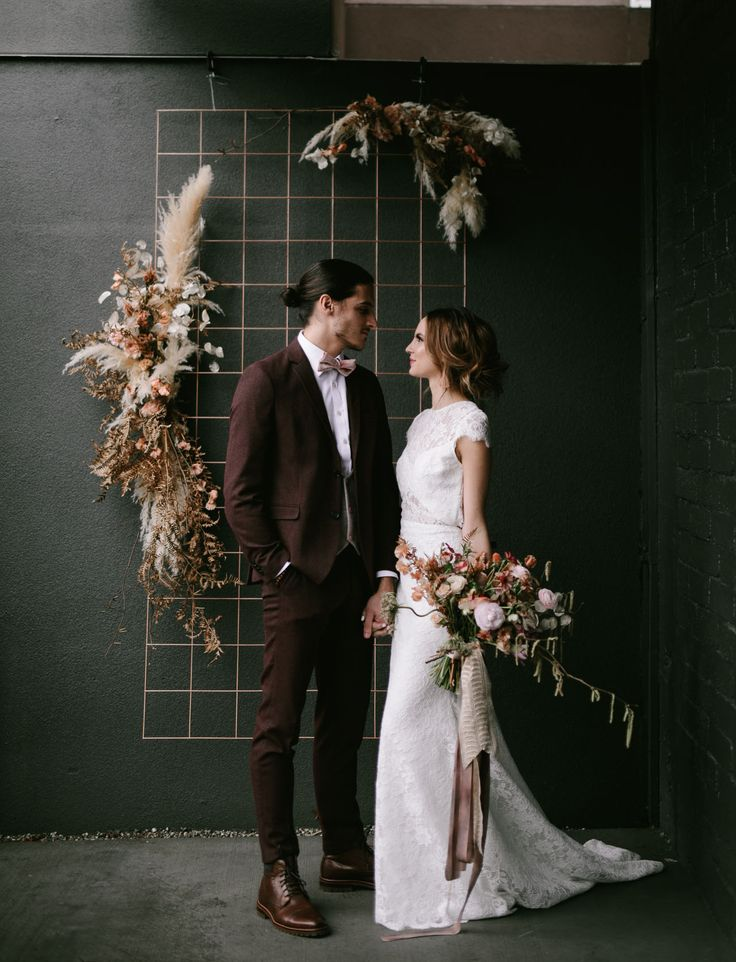 pampas grass and dried moody florals backdrop