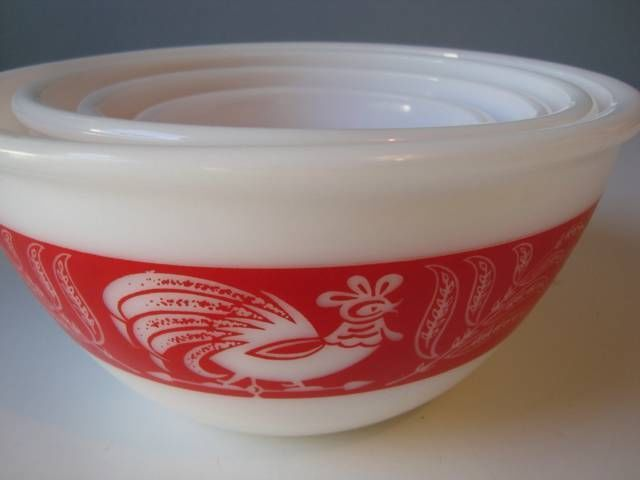 "Unmarked ""Pyrex"" red rooster mixing bowl set. Vintage 40's/50's. Caroline! We have to find these for your kitchen!! <3 Mama Love"