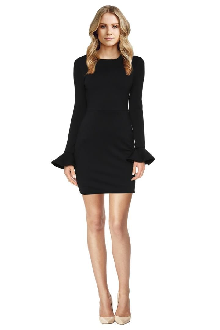 This is the perfect subtle twist on the little black dress. Crafted out of a mid-weight jersey; this mini dress hugs and flatters the body beautifully. It features a classic pencil silhouette with a scoop neckline and long sleeves. The long sleeves flare out into a short bell shape – on-trend yet demure. Wear this to a daytime function or a night out with the girls! Mid-weight jersey fabrication Cinched waist with form fitting silhouette Long sleeves with bell flare.