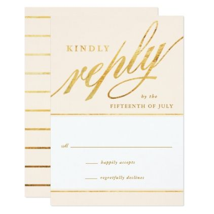 #simple - #Unique Modern Champagne & Gold Script Reply Cards