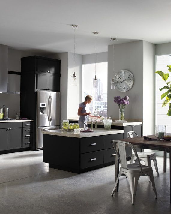 Drawing inspiration from city dwellings, the Perry Street kitchen is a sophisticated mix of subtle color, metallic styling, and frosted glass. This modern look is easily adapted to any style.Discover All of the Martha Stewart Living Kitchens on HomeDepot.com