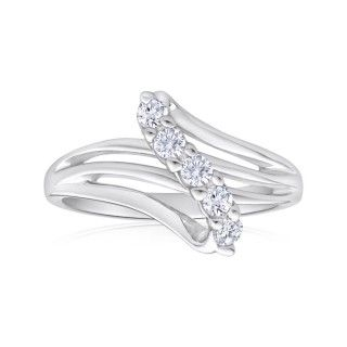Created White Sapphire Ring in Sterling Silver  image-a