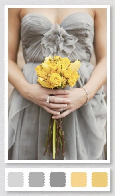 509ede3f9c Pewter bridesmaid dress against yellow is a nice idea... marigold and silver