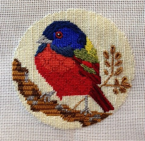 This beautiful little painted bunting has been stitched by Patricia Sone at Creative Stitches and Gifts in Dallas TX.  One of a series of 8 called Birds of America, they are available as kits with the canvas, threads and stitch guides.  Call them at 214-361-2610 for information.