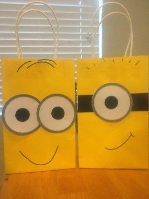 Minions theme party favor bags