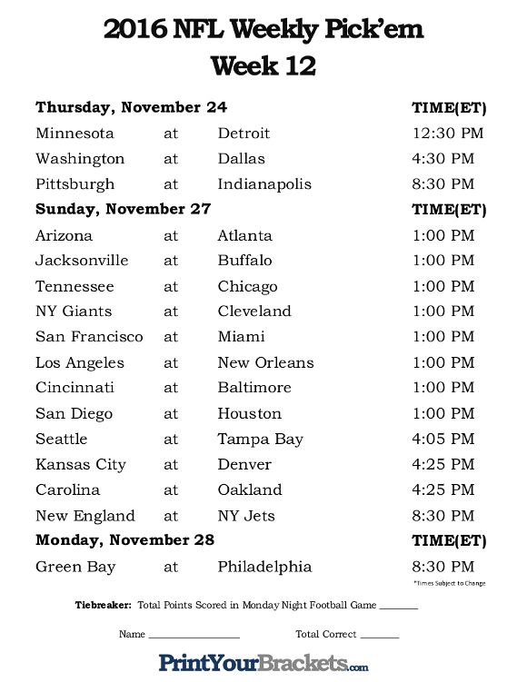 Universal image intended for nfl week 9 schedule printable