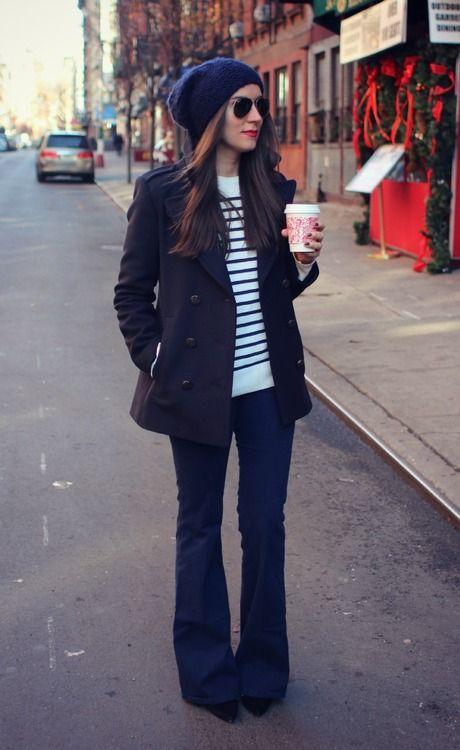 Flared Jeans, stripes, beanie
