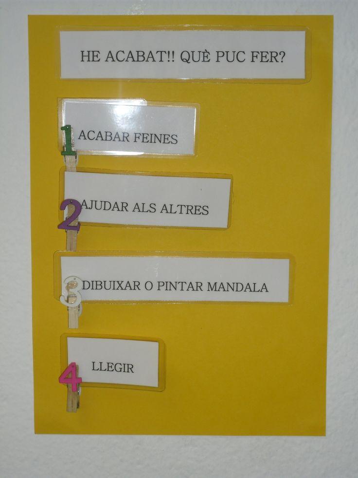 Amb aquest cartellet els alumnes saben el que han de fer en acabar una activitat. Per Educació Infantil afergir-hi imatges a cada frase.