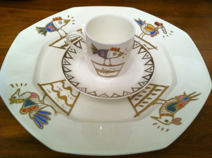 My Fine Bone China With Gold Leaf Bird Design. Narumi