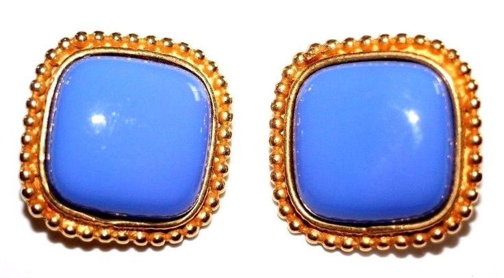 VINTAGE PHILIPPE FERRANDIS SIGNED GLASS LAVENDER CABOCHON FRENCH CLIP EARRINGS #PHILIPPEFERRANDIS