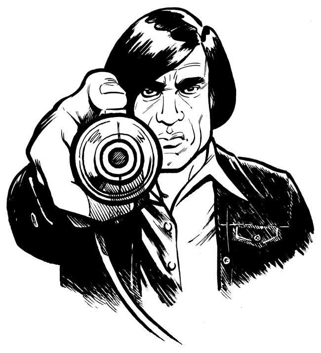 """Le désormais célèbre """"Captive bolt pistol"""" de Anton Chigurh, personnage joué Javier Bardem, dans NO COUNTRY FOR OLD MEN (2007)"""