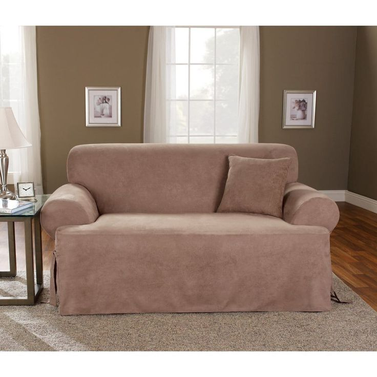 Sure Fit Smooth Suede T-cushion Loveseat Slipcover in