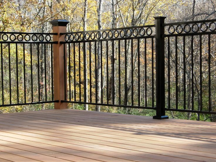 Outdoor wrought iron railings deck home design ideas for Garden decking banister