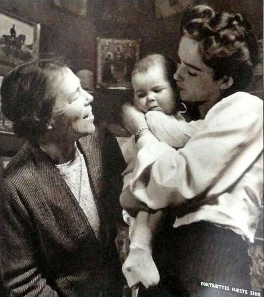 The Grand Duchess Olga Alexandrovna Romanova of Russia with her daughter-in-law, Ruth and her first grandchild, Xenia, who grew up to be a younger version of her grandmother's niece the Grand Duchess Maria Nikolaevna of Russia.
