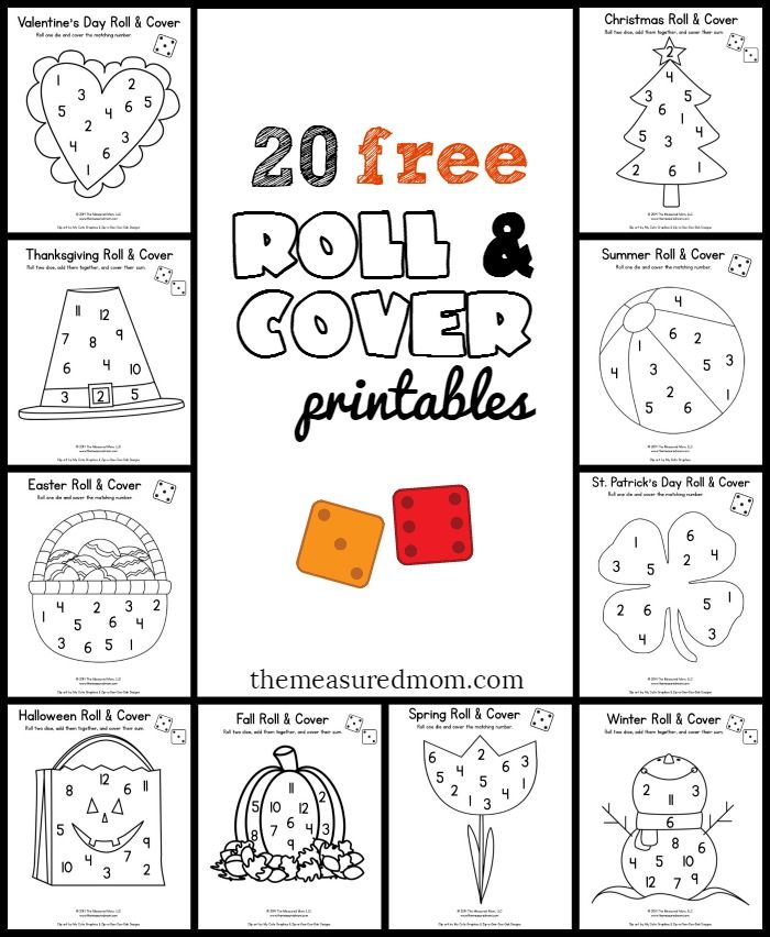 20 free & fun math games for preschool & kindergarten - Seasonal Roll & Cover!