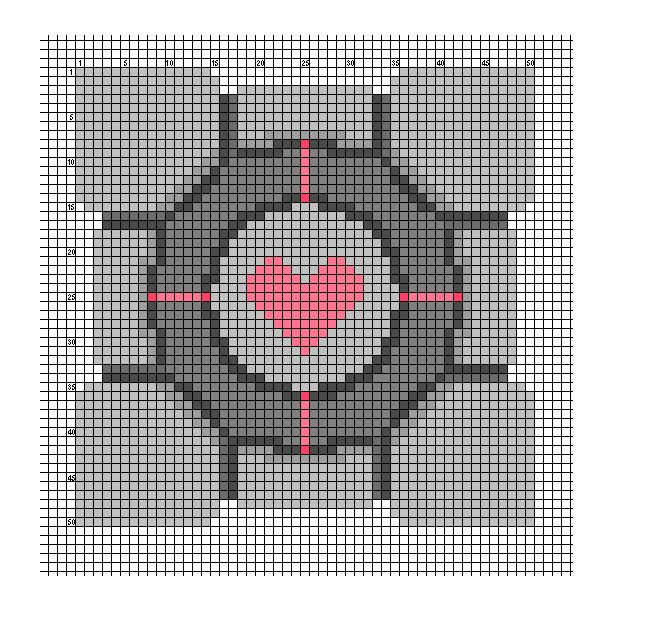 Companion cube x-stitch pattern (with DMC color chart)