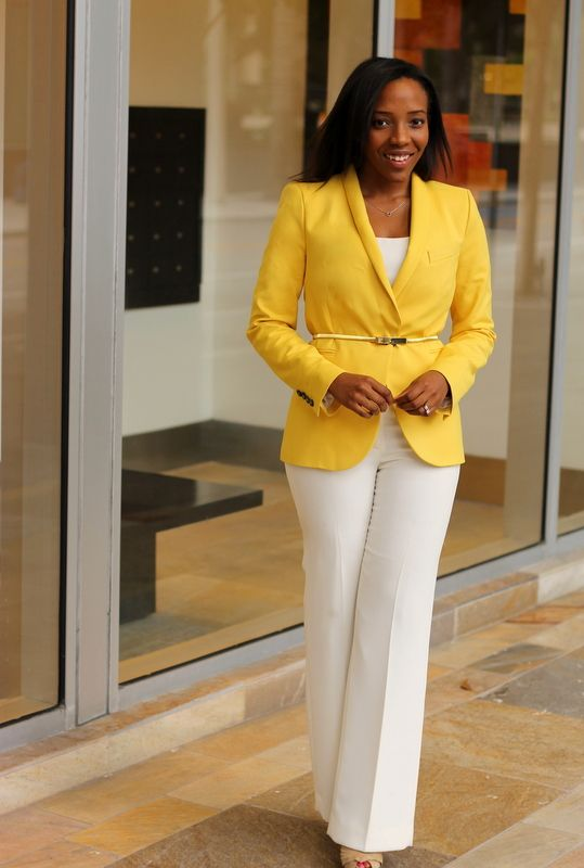 Mustard-colored Blazer; Ivory Tank & Slacks; Gold Skinny Belt; Neutral Peep Toe Pump