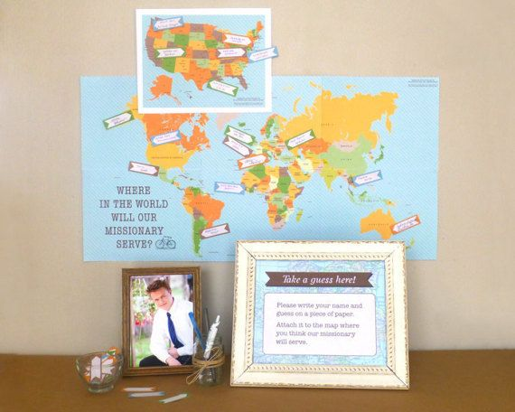 LDS Mission Reveal for Mission Call Letter Opening! Includes a map, guess arrows & explanation sign. Have a party when your missionary gets their call to serve!