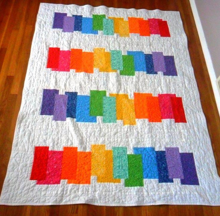195 best STRIPED RAINBOW QUILTS images on Pinterest | Carpets, Log ... : rainbow quilt pattern - Adamdwight.com