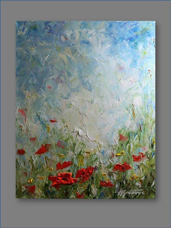 Original-Gemälde Landschaft Malerei Mohn Malerei zeitgenössische abstrakte Blumen Palette Messer Wohnzimmer Kunst Malerei von Mirjana