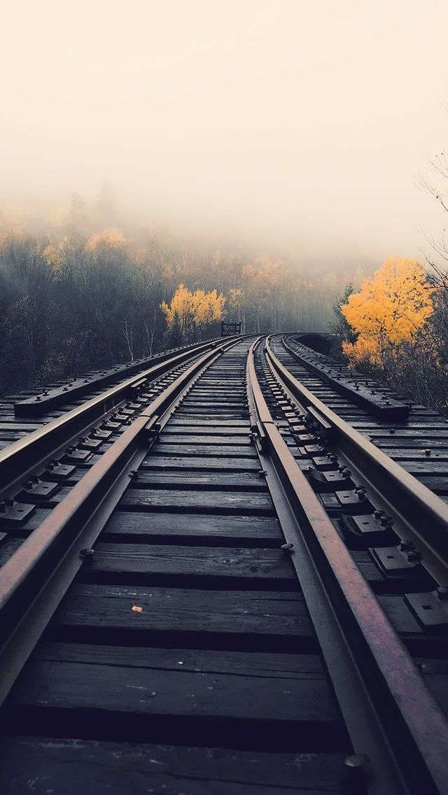 Train Tracks In Fog iPhone 5 Wallpaper