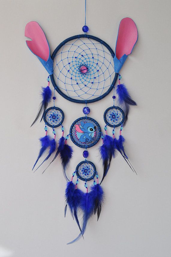 Lilo and Stitch Fan Gift - Blue Dream Catcher Wall Hanging - Birthday Gift - Baby Nursery Children Kids Room Decor
