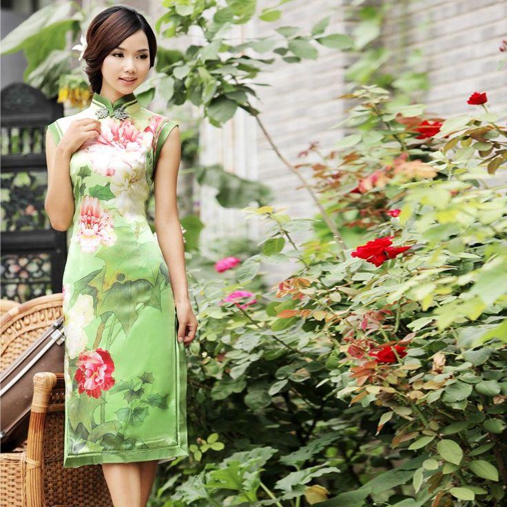 Energetic fashion silk short cheongsam dress. Return to Nature