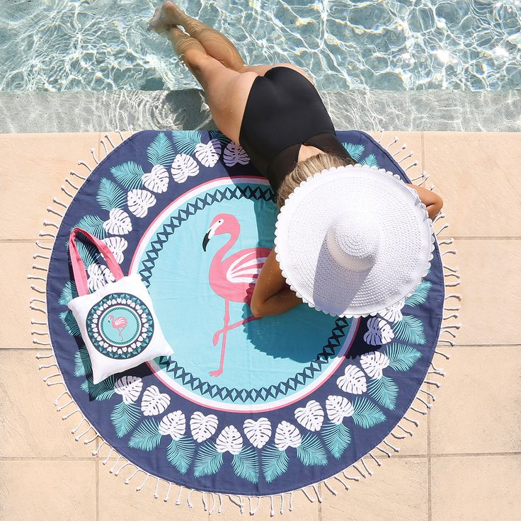 Flamingo Forest Round Beach Towel - www.pillowtalk.com.au