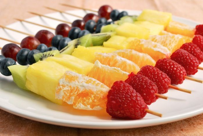 Rainbow fruit skewers -  a healthy alternative to cake and candy! #PicnicWithAView @lundbergfarms