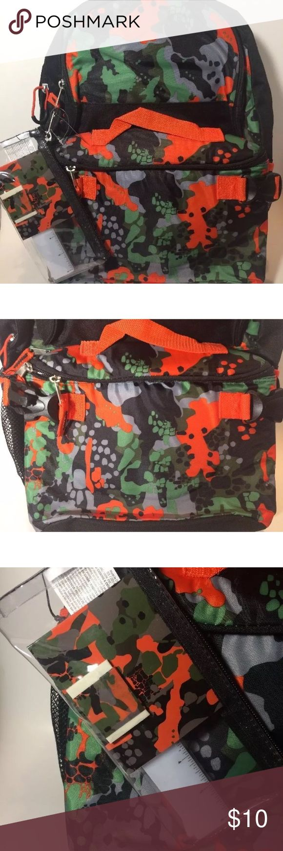 """Camo Backpack With Matching Lunchbox & Pencil Case Triple Pocket 17"""" Rainforest Camo Print Backpack with Pencil Case and Lunch Bag   It is unused but has some wear from storage. Accessories Bags"""