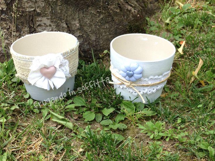 vasi stile shabby con decori in stoffa e pasta modellabile gabrylea