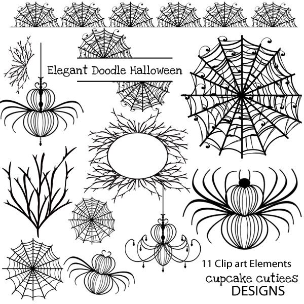 Halloween Doodle  Elements. Great for invitations, cards, and paper goods. Great scrapbooking papers!   11 Clip art Elements in JPEG and PNG format. Flowers, tags, and borders make up this beautiful set. They look great with dark or light backgrounds. Check out my matching digital paper pack.